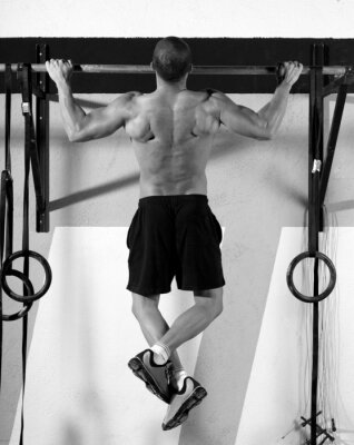 Canvastavlor Crossfit tårna till bar man pull-ups 2 barer tränings