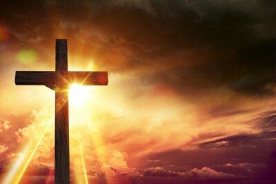 Canvastavlor Crucifix Blessing Lights
