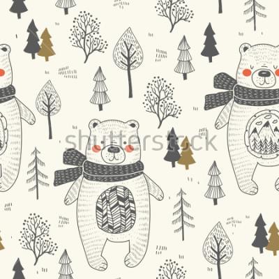 Canvastavlor cute bear hand drawn forest seamless pattern. Doodle cartoon anymal.