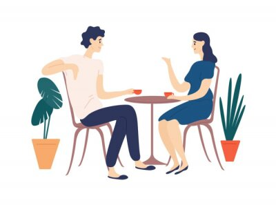 Canvastavlor Cute couple sitting at table, drinking tea or coffee and talking. Young funny man and woman at cafe on date. Dialog or conversation between romantic partners. Flat cartoon vector illustration.