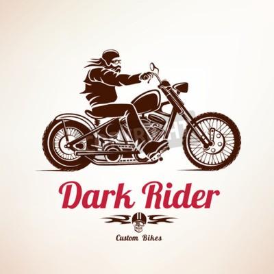 Canvastavlor cyklist, motorcykel grunge vektor silhuett, retro emblem och etikett