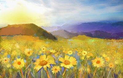 Canvastavlor Daisy blomma blossom.Oil målning av en lantlig solnedgång