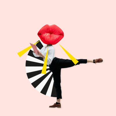 Canvastavlor Dancing office woman in classic suit like a ballet dancer headed by the big red female lips against trendy coral background. Negative space to insert your text. Modern design. Contemporary art collage