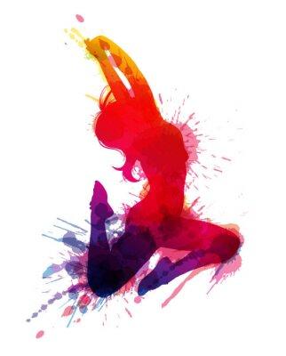 Canvastavlor Dansande flicka med grungy stänk
