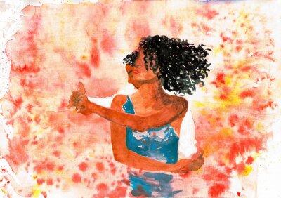 Canvastavlor Dansande par. akvarell illustration