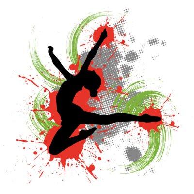 Canvastavlor Dansare framför brokig bakgrund med stänk av färg