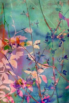 Canvastavlor Dekorativa grunge bakgrund med naturliga blad