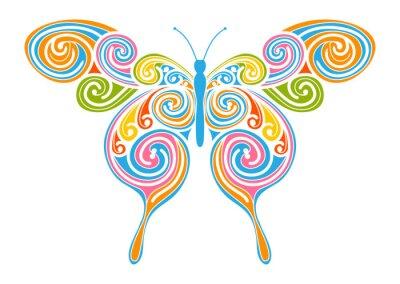 Canvastavlor Dekoratives Vektor Element - Bunter, Abstrakter Schmetterling mit Spiral Muster. Design Vorlage für Grußkarten und Hintergründe. Frühling, frische Farben.