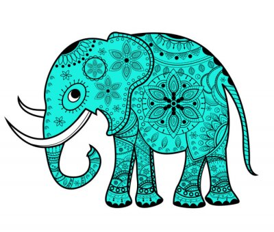 Canvastavlor Dekorerad vektor elefant, elefante vettoriale decorato