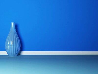 Canvastavlor den blå vas i det blå rummet