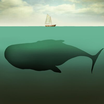 Canvastavlor Den lilla båten och jätte whale
