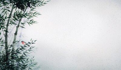 Canvastavlor Den lilla fågeln i en bamboo grove. Bilden i japansk stil