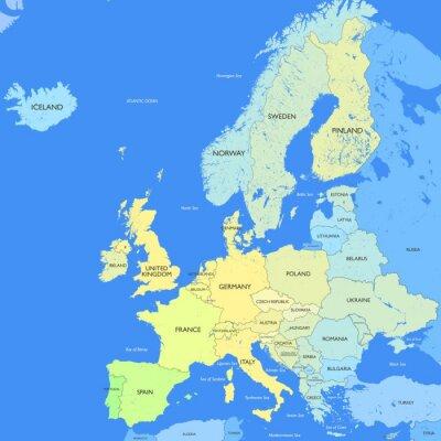 Canvastavlor Detaljerad Europa karta