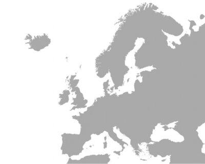Canvastavlor Detaljerad karta över Europa