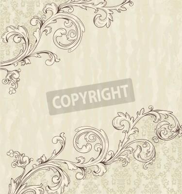 Canvastavlor Detaljerad vintagekort med damast tapeter på beige grunge bakgrund