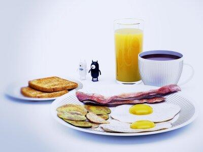 Canvastavlor Diavoli alieni en colazione rendering 3d