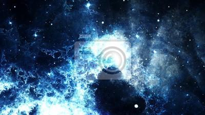 Canvastavlor Digital abstrakt av en ljus och färgrik nebulosa galax och stjärnor