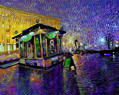 Canvastavlor digital konstmålning av natten Kiev stad, vektor