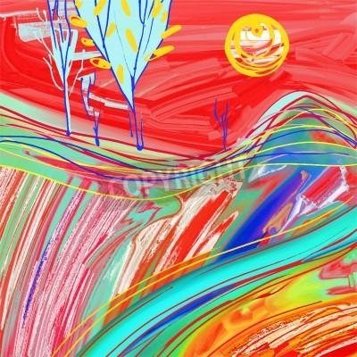 Canvastavlor digital målning av röda solnedgången landskap, kreativa konstverk inspiration, modern impressionism, vektorillustration