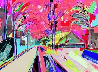 Canvastavlor digital målning av vinterlandskap