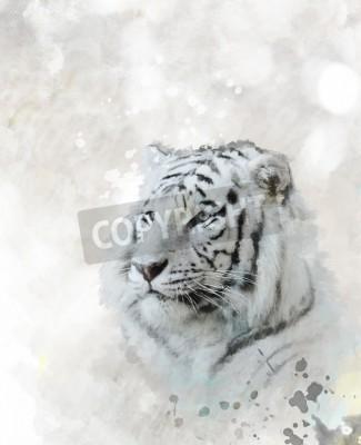Canvastavlor Digital målning av White Tiger Head