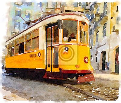 Canvastavlor Digital vattenfärgmålning av en traditionell tappning gul spårvagn i Lissabon, Portugal, ridning genom pittoreska gator. Transport genom Lissabon.