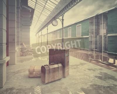 Canvastavlor dimma på retro järnvägsstationen .Vintage färg stil 3D koncept