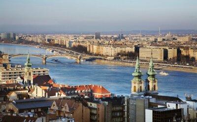 Canvastavlor Donau i Budapest. Ungern
