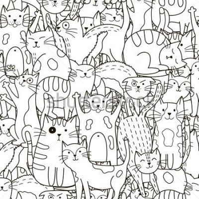 Canvastavlor Doodle katter sömlöst mönster. Svart och vit söt bakgrund. Perfekt för färgläggning av bok, inslagning, tryckning, tyg och textilier. Vektorillustration