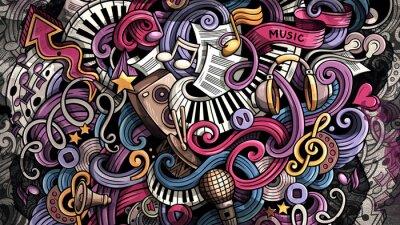 Canvastavlor Doodles Music illustration. Creative musical background