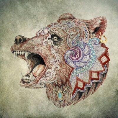 Canvastavlor Dotwork, tatuering, huvud rasande björn