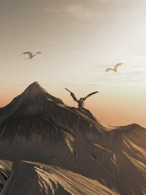 Canvastavlor Drake Peak at Sunset, fantasiillustration