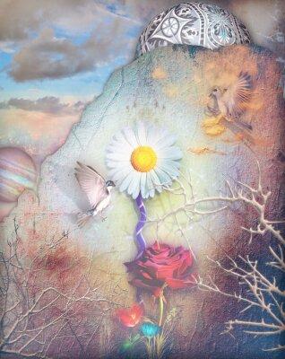 Canvastavlor Dreams dal med färgade blommor serie