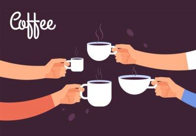 Canvastavlor Dricker kaffe koncept. Vänner dricker kaffe till frukost. Bryt på kontoret med espresso vektorkoncept. Illustration av kaffedryck, kafé frukost morgon med varm espresso