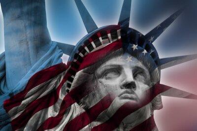 Canvastavlor Dubbel exponering bild av Frihetsgudinnan och amerikanska flaggan
