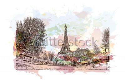 Canvastavlor Eiffeltornet är ett smidesjärngittertorn på Champ de Mars i Paris, Frankrike. Akvarellstänk med Handritad skissillustration i vektor.