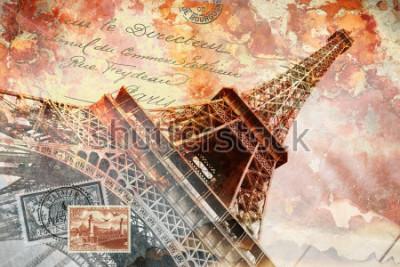 Canvastavlor Eiffeltornet Paris, abstrakt digital konst, vykort