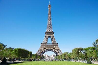 Canvastavlor Eiffeltornet, solig sommardag med blå himmel och grönt Field of Mars