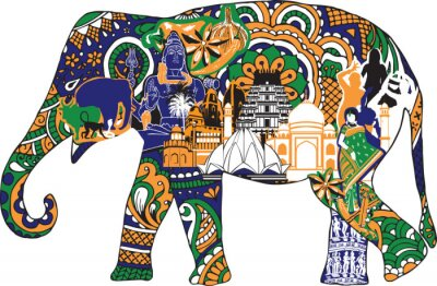 Canvastavlor elefant med indiska symboler