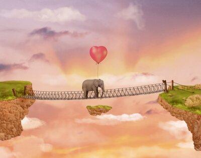 Canvastavlor Elefant på en bro i himlen med ballongen. Illustration