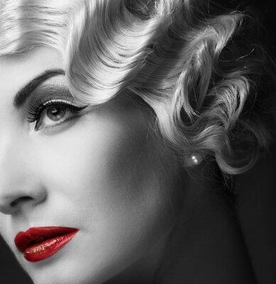 Canvastavlor Elegant blond retro kvinna
