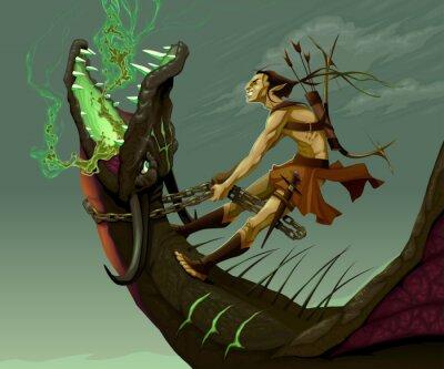 Canvastavlor Elf rider draken