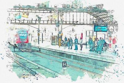 Canvastavlor En akvarell skiss eller en illustration. Tyskland. Berlin. Centralstationen heter Berlin Hauptbahnhof. Människor väntar på tåget på plattformen.