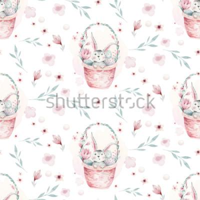 Canvastavlor En akvarellfjäderillustration av den söta påskbabykaninen. Kanintecknad djur sömlöst mönster med korg