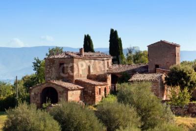 Canvastavlor En bostad i Toscana, Italien. Typisk för regionen toskanska bondgårdar, kullar, cypresser. Italien