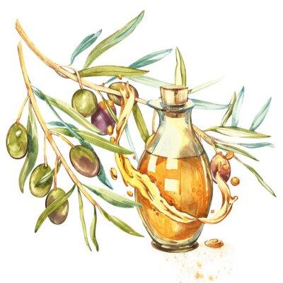 Canvastavlor En gren av mogna gröna oliver är saftig hälld med olja. Droppar och stänk av olivolja. Akvarell och botanisk illustration isolerad på vit bakgrund.