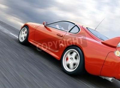 Canvastavlor En röd sportbil fortkörning på Suddiga asfaltväg. 3d framför