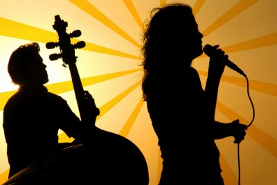 Canvastavlor en sångare och en stand up bas silhuett