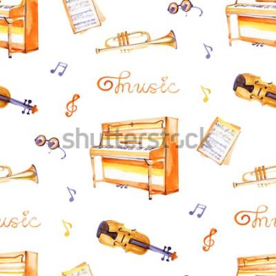 Canvastavlor En sömlös modell med handritade musikinstrument på en akvarellbakgrundsstruktur.