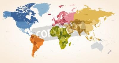 Canvastavlor En tappning färger Hög Detalj vektor karta illustration av hela världskartan.